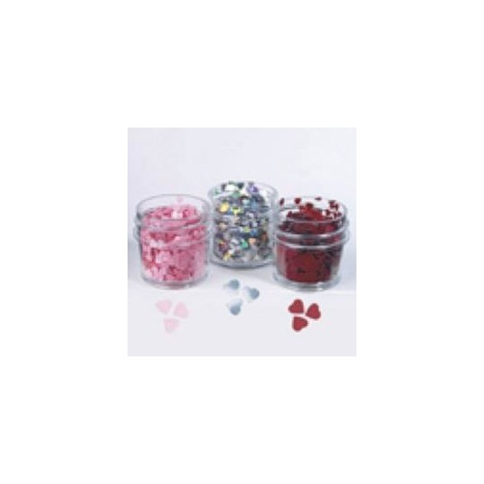 Shapes Flat Glitter Hearts Red